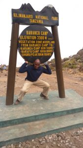 David Thuo Climbing Mt Kilimanjaro at the Baranco camp